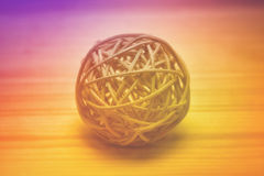 Decorative ball woven from bamboo Stock Image