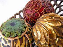 Decorative balls. Three colorful decorative balls centerpiece home decor Stock Photography