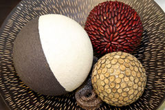 Decorative balls. Three decorative balls made from natural materials Royalty Free Stock Image