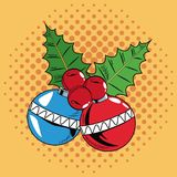 Decorative balls Christmas pop art. Vector illustration graphic royalty free illustration