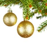 Decorative balls on fir branch Royalty Free Stock Image