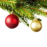 Decorative balls on fir Stock Photo