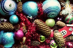 Decorative balls and fir-tree cones close up. Decorative christmas balls and fir-tree cones close up Royalty Free Stock Image