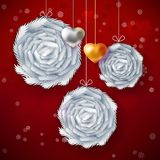 Christmas paper art card. Decorative balls and hearts for Happy New Year on red background. Christmas garland greeting card. Christmas fir branches design. New Royalty Free Stock Photo