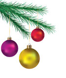 Decorative balls on the xmas tree Royalty Free Stock Image