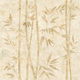Decorative bamboo branches - Interior wallpaper royalty free illustration