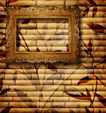 Decorative bamboo with frame. Vintage bamboo background with frame Stock Photography
