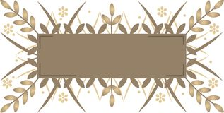 Decorative banner. Decorative brown banner with plants Vector Illustration