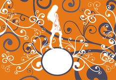 Decorative banner on the bright background. Decorative banner with female silouhette on the bright background Stock Photo