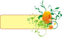 Decorative banner with egg and bouquet Royalty Free Stock Photography