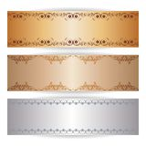 Decorative banner with graphic ornaments. Vector decorative banner with graphic lace ornaments Stock Photos
