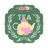 Decorative banner with ornament, ribbon, kettle. And a cup of tea Royalty Free Stock Photo