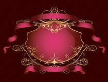 Decorative_banner_in_pink_color Stock Afbeeldingen