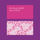 Decorative banner template with bright pink roses and light pink Stock Photos