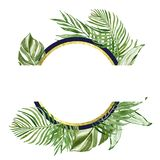 Decorative banner with watercolor tropical green plants. Geometric frame with gold elements. Summer vacations vibes.