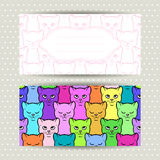 Decorative banners with cute cats. Card, invitation, envelope template Royalty Free Stock Photo