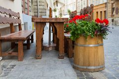 Decorative barrel with flowers in  Lviv royalty free stock photo