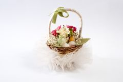 Decorative basket of flowers Royalty Free Stock Photos