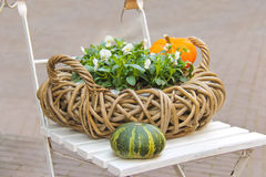 Decorative basket of flowers and pumpkins Royalty Free Stock Image