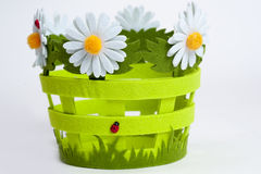 Decorative basket of flowers Royalty Free Stock Images
