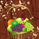 Decorative basket of fruit Royalty Free Stock Images