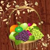 Decorative basket of fruit Royalty Free Stock Images