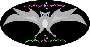 Decorative Bat with Stars and Tattoo Designs Royalty Free Stock Images