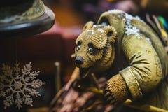 Decorative bear from wood Stock Photos