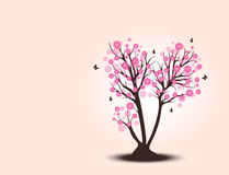 Decorative beautiful cherry blossom tree with background. Full color Royalty Free Stock Photography