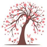 Decorative beautiful cherry blossom tree. Black and white Stock Photography