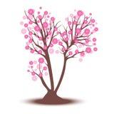 Decorative beautiful cherry blossom tree. Full color Stock Image