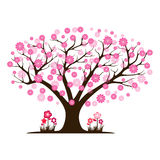 Decorative beautiful cherry blossom tree. Full color Stock Images