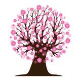 Decorative beautiful cherry blossom tree. Full color Royalty Free Stock Image