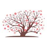 Decorative beautiful cherry blossom tree. Full color Royalty Free Stock Photos