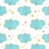 Decorative beautiful clouds pattern with golden texture. Vector illustration. Stock Images