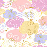 Decorative beautiful clouds pattern with golden texture. Vector illustration. Background, textile, texture Royalty Free Stock Photography