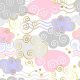 Decorative beautiful clouds pattern with golden texture. Vector illustration. Background, textile, texture Royalty Free Stock Image