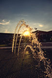 Decorative beautiful fountain at sunset.  Royalty Free Stock Photos