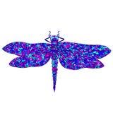Decorative, beautiful, graceful dragonfly, psychedelic style, mu Stock Photo