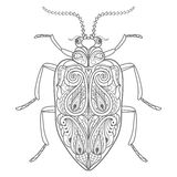 Decorative beetle. Template for coloring book. Vector decorative beetle Royalty Free Stock Images