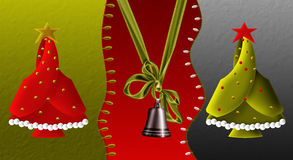 Decorative Bell and Christmas Tree Stock Image