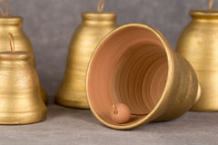 Decorative bell handmade ceramics, sonorous and melodious. Stock Image