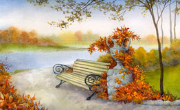 Decorative bench in autumn park Stock Images