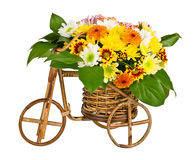 Decorative bicycle vase with flowers Stock Photography