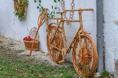 Decorative bike made from twigs and wicker Royalty Free Stock Photo
