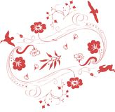 Decorative bird. Vector background with floral ornaments and an exotic bird stock illustration