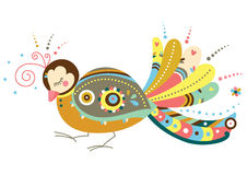 Decorative Bird. Cute illustration of decorative bird with ornaments Stock Images