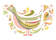 Decorative Bird. In contemporary style, inspired by folklore Stock Images