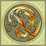 Decorative bird. Abstract circle frame with decorative bird Royalty Free Stock Photos