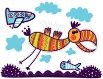 Decorative bird and aircraft Stock Image